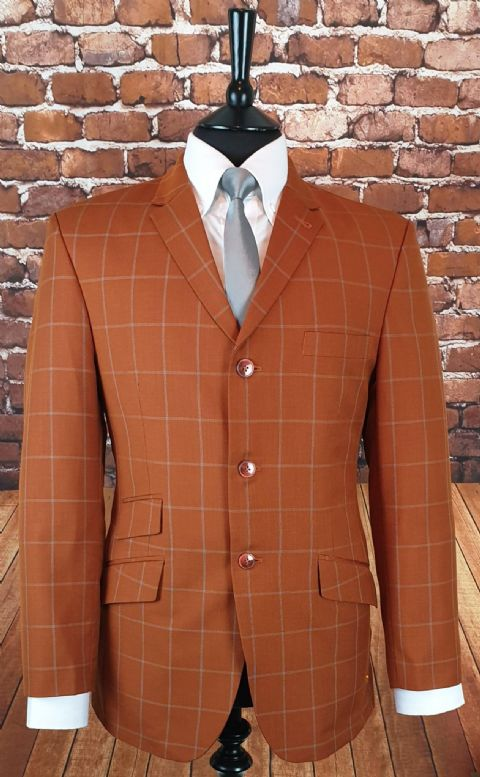 """Eddie"" Stunning Rust Checked Suit"